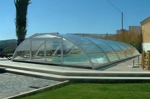 piscina interrata, particolare copertura telescopica BASSA