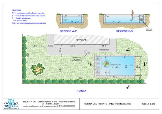 piscina interrata isoblok, forma classica, copertura con tapparella sommersa a carabottino, scala laterale. Realizzata a Pino Torinese da Acqua SPA