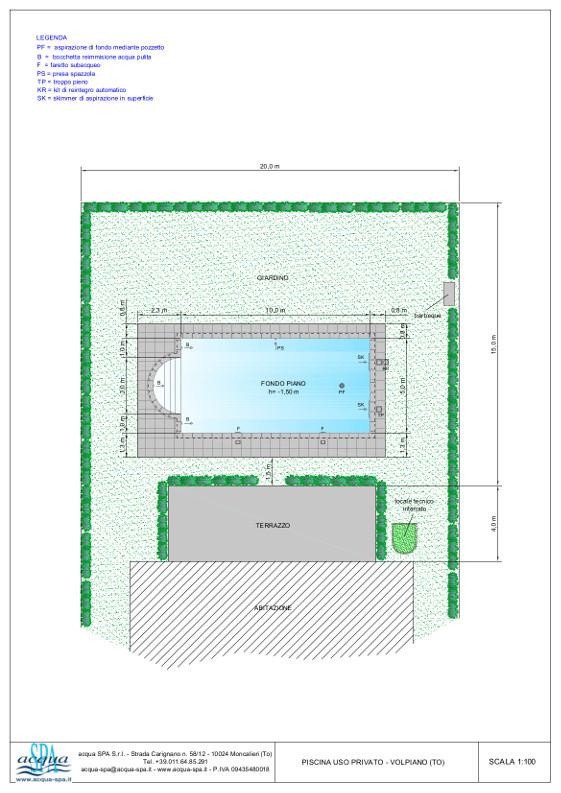 piscina interrata isoblok, forma relax, fondo piano, scala romana. Locale tecnico comodo. Costruzione Acqua SPA a Volpiano