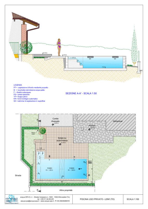piscina interrata isoblock, scala in opera, doccia solare. Progetto Acqua SPA