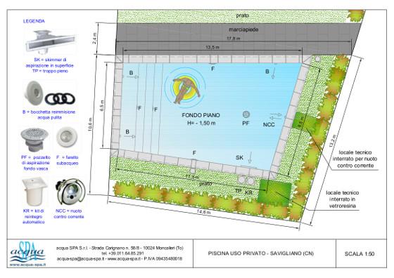 piscina interrata isoblok, con scala tropezienne e nuoto contro corrente. Progetto e realizzazione piscina Acqua SPA. Costruita a Savigliano