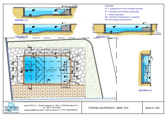 Piscina interrata in cemento armato, modello monaco, fondo piano con area relax interna. Progetto Acqua SPA, realizzato in Valle di Lanzo, Torino