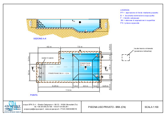 piscina interrata isoblok, forma beach-time, con fossa tuffi,  scala interna tropezienne, progetto acqua-spa
