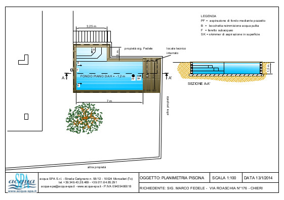 Piscina interrata isoblok, forma beachtime, fondo piano, scala interna, bordo legno WPC teck