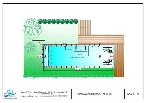 Piscina interrata isoblok, bordo a cascata, fondo piano, scala interna, idro deck. Realizzata e progettata da Acqua SPA. Piscina costruita a Lerici