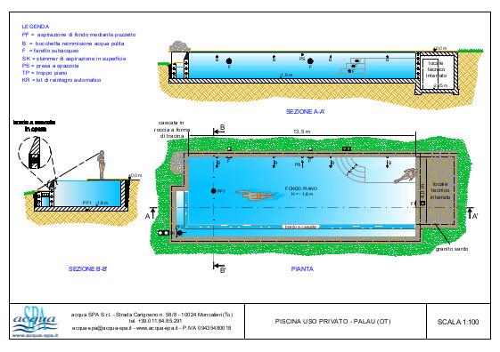 Piscina interrata isoblok, forma classica, cascata infinity, con scala e spiaggia. Progetto Acqua SPA per piscina costruita a Palau