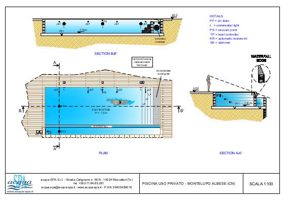 piscina interrata isoblok, forma classica, cascata infinity, scala tropezienne, deck, piscina realizzata a Montelupo, progetto acqua-spa
