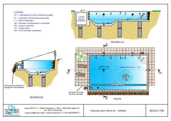 Piscina interrata isoblok, forma classica, bordo a cascata, scala ad angolo e fossa tuffi. Progetto Acqua SPA