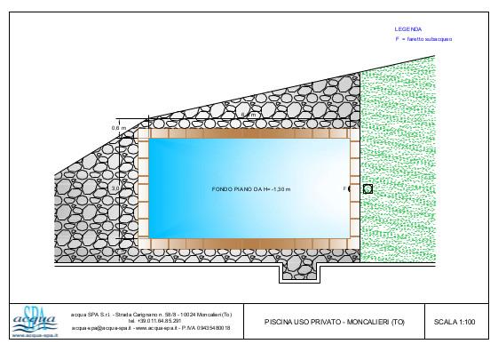 piscina interrata isoblok, forma classica, fondo piano, con sistema di riscaldamento, progetto acqua-spa