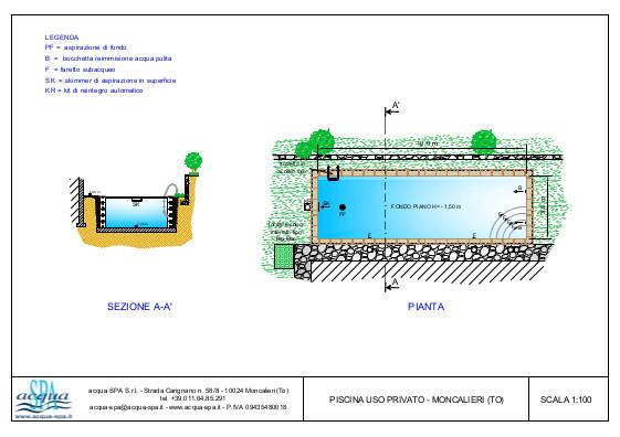 Piscina interrata isoblok, forma classica, fondo piano. Progetto acqua Spa, piscina realizzata a Moncalieri