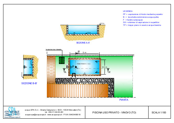 Piscina interrata isoblok, forma classica, fondo piano, scaletta inox. Progetto Acqua SPA realizzata da Acqua SPA in Piemonte