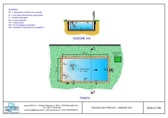piscina interrata isoblok, forma classica, scala interna,  fondo piano, con sistema di elettrolisi del sale, progetto acqua-spa