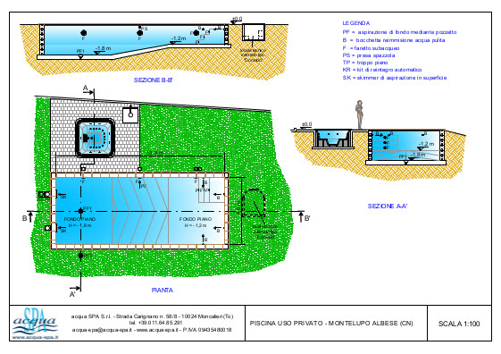 piscina interrata isoblok, forma classica, scala interna, locale tecnico interrato, progetto acqua-spa