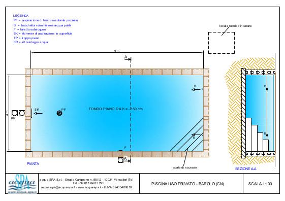 Piscina interrata isoblok, fondo piano, scal interna ad angolo. Progetto Acqua SPA piscina costruita a Barolo - Cuneo