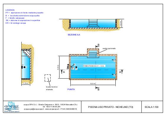 piscina interrata isoblok, forma classica, scala interna, riscaldamento con pompa di calore, progetto acqua-spa