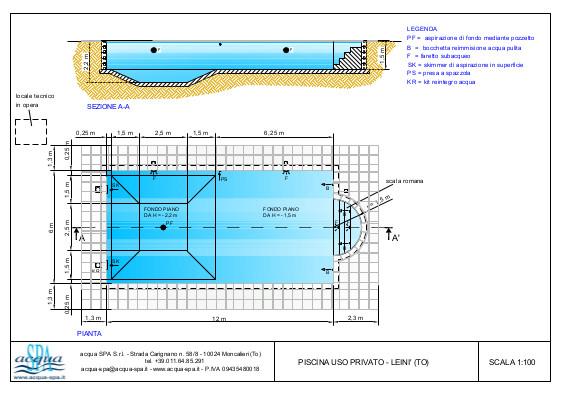 Piscina interrata isoblok, forma relax, fossa tuffi a tronco di piramide, scala romana. Progetto Acqua SPA, piscina costruita a Leini Torino