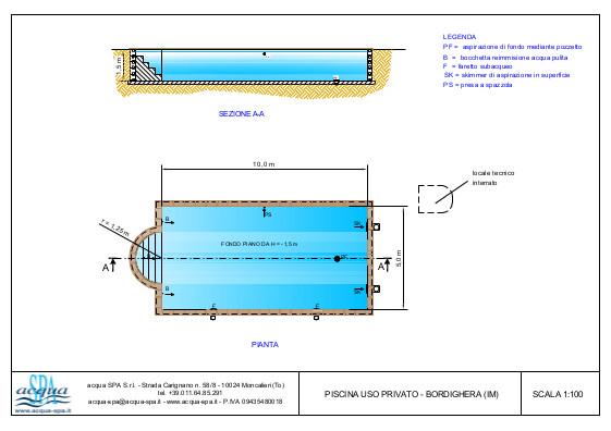 Piscina interrata isoblock, forma relax, scala romana, locale tecnico. Progetto Acqua SPA