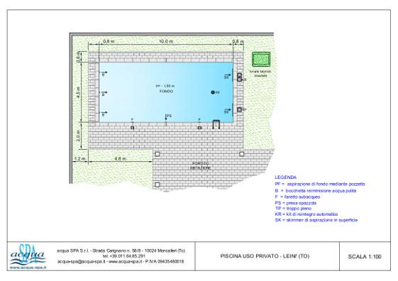 piscina interrata isoblok, forma classica, fondo piano, scala inox, piscina realizzata a Leini, progetto e costruzione acqua-spa