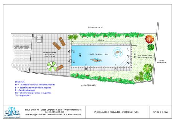 piscina interrata isoblok, forma classica, fondo piano, solarium, scala e locale tecnico, realizzata a Vercelli da acqua-spa