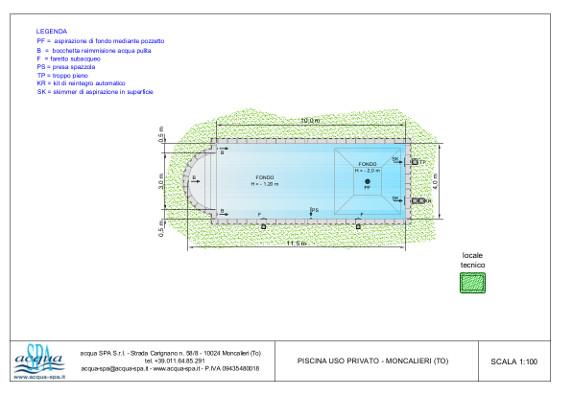 piscina interrata isoblok, forma relax, fossa tuffi, scala romana, piscina realizzata a Moncalieri, progetto e costruzione acqua-spa