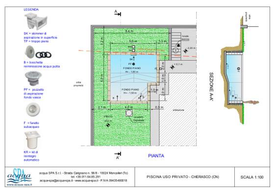 piscina interrata isoblok con scala ad angolo. costruita a Cherasco, progetto e realizzazione acqua-spa