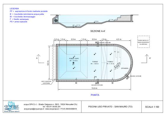 piscina interrata isoblok, forma taormina, fossa tuffi, con spiaggia, idromassaggio cervicale, giochi d'acqua, piscina costruita a Moncalieri progetto e realizzazione acqua-spa