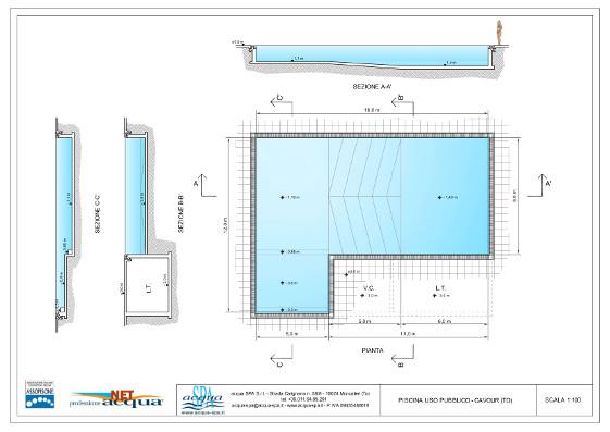 piscina interrata forma beachtime, bordo a sfioro, uso pubblico, progetto realizzato a Cavour da Acqua SPA