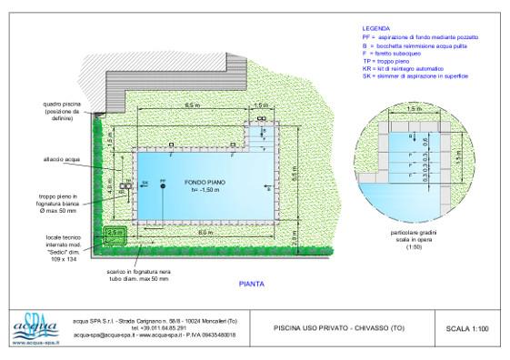 piscina interrata isoblok, forma beachtime, scala interna, locale tecnico. Piscina di Acqua SPA costruita a Chivasso