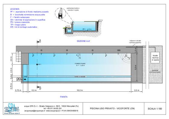 piscina interrata isoblok, forma classica, cascata indfinity. Piscina progettata e realizzata da Acqua SPA a Vicoforte