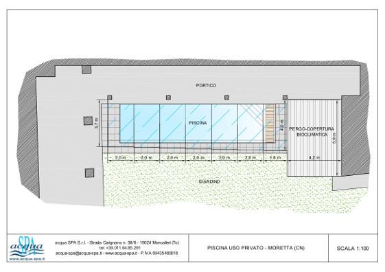 piscina interrata isoblok, forma classica, copertura scorrevole, costruzione Acqua SPA a Moretta