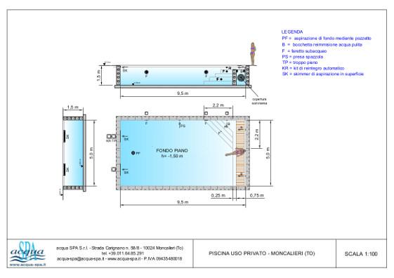 piscina interrata isoblok, forma classica, fondo piano, copertura a ttaparella sommersa, locale tecnico in opera. Realizzazione a Moncalieri di Acqua SPA