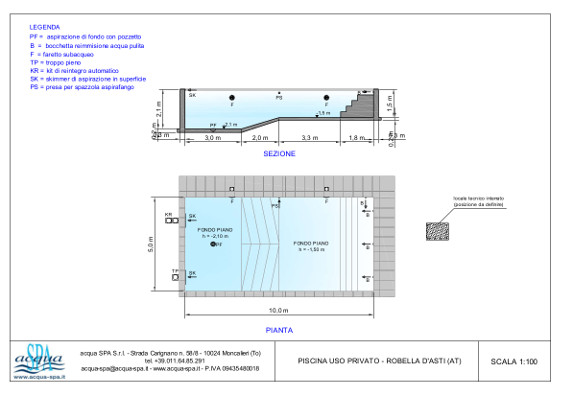 piscina interrata isoblok, forma classica, scala tropezienne, progetto e costruzione Acqua SPA, in Robella d'Asti