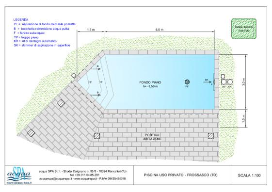 piscina interrata isoblok di forma libera, con scala. Costruita a Frossasco da Acqua SPA