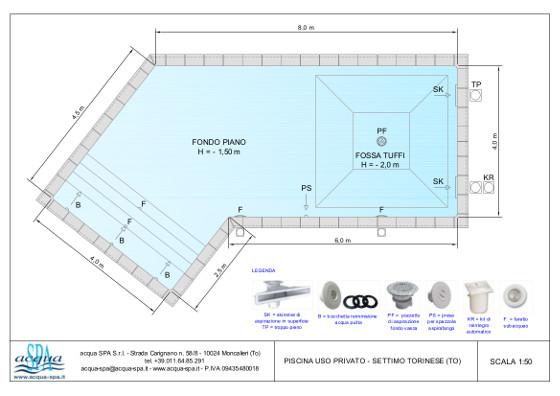 piscina interrata isoblok, forma zagabria, scala tropezienne. Progettata e realizzata da Acqua SPA, in Settimo Torinese