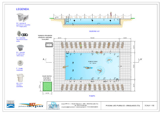 piscina interrata uso pubblico, bordo con piastrelle realizzazione Acqua SPA a Grugliasco