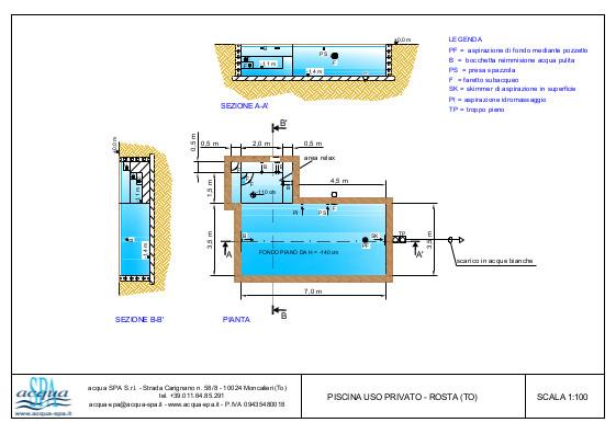 Piscina interrata isoblock modello caraibi, con area relax e idromassaggio, fondo piano. Progetto Acqua SPA