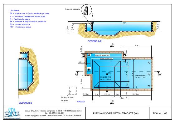 Piscina interrata isoblock, forma classica, cascata infinity, scala ad angolo e fossa tuffi. Progetto Acqua SPA