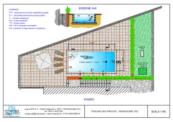 Piscina interrata isoblok, forma classica, fondo piano, scala interma, locae tecnico. Progetto e realizzazione Acqua SPA. Piscina costruita a Torino