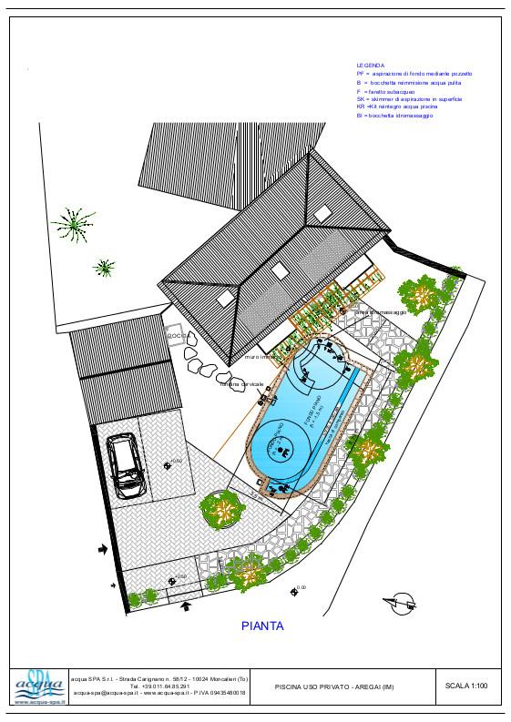 Piscinainterrata, forma Seabeach, cascata infinitu e idromassaggio. Progetto Acqua SPA, piscina costruita in Liguria