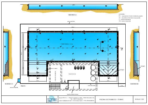 Piscina interrata ad uso pubblivo. bordo a sfioro e spiaggia. Progetto Acqua SPA. Piscina costrutia a Torino